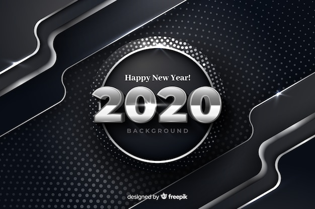 Silver new year 2020 on metallic background
