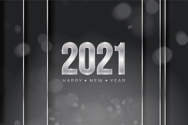 Silver new year 2021 background