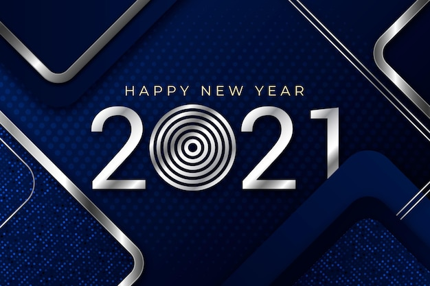Silver new year 2021 concept