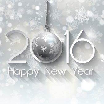 Silver new year on a snowflakes background