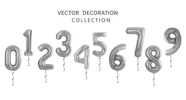Silver number balloons 0 to 9. foil and latex balloons. helium ballons. party, birthday, celebrate anniversary and wedding. realistic design elements. festive set isolated. vector illustration
