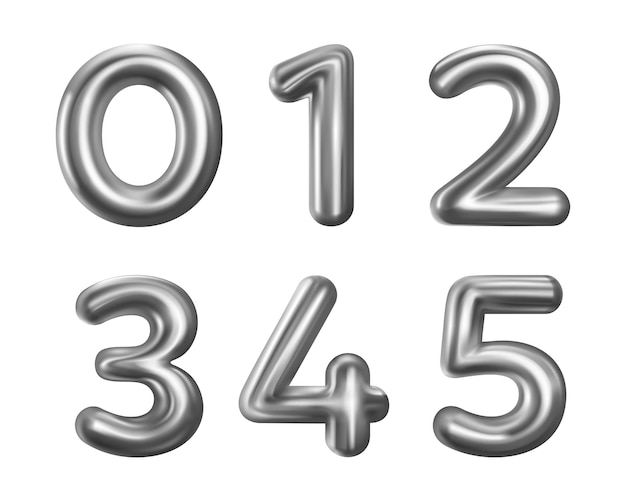 Silver number balloons collection isolated on white