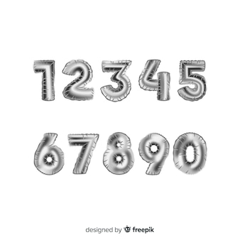 Silver numbers balloon set