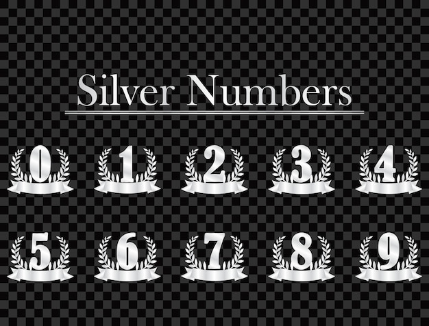 Silver numbers on transparent background