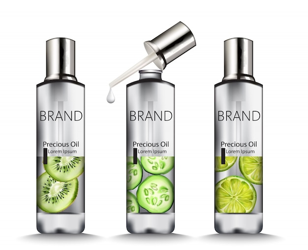 Silver oil bottles with fruits drawings