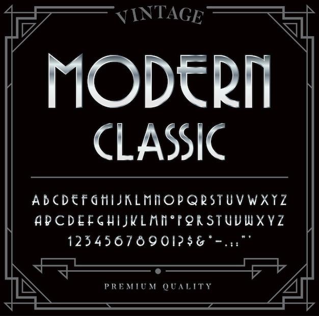 실버 또는 크롬 메탈릭 글꼴 세트. 문자, 숫자 및 특수 문자