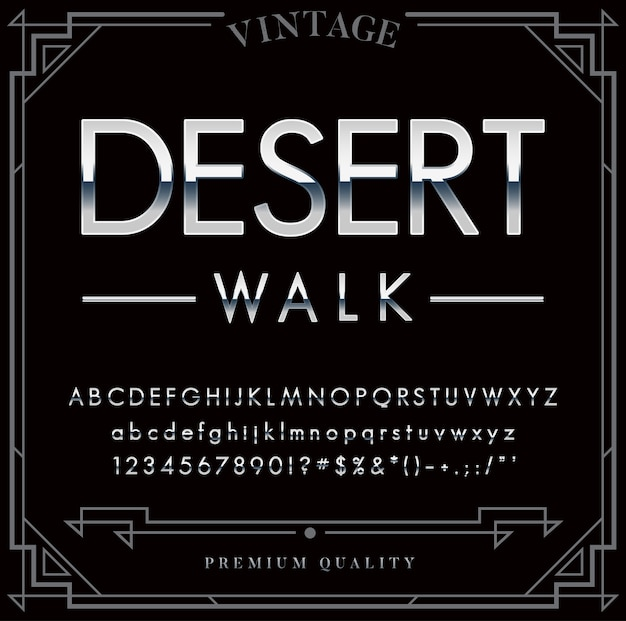 Серебряный или хромированный металлический шрифт. буквы, цифры и специальные символы