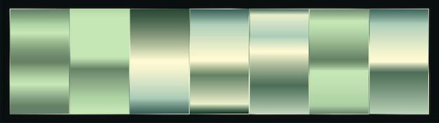 シルバーまたはプラチナグリーンのプレミアムグラデーション見本パレットセット