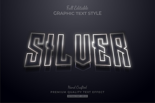 Silver outline editable premium text style effect