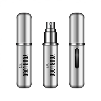 Silver perfume atomizer .  realistic compact spray case for fragrance with place for your logo. closed and open packaging