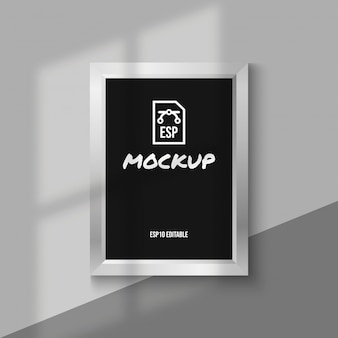 Silver photo frame mockup with blank screen
