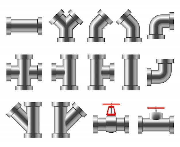 Silver pipes. aluminum and chrome pipeline. pipe fittings, water tube vector set