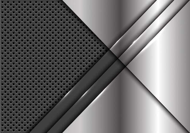 Silver plate overlap on grey metallic circle mesh background.