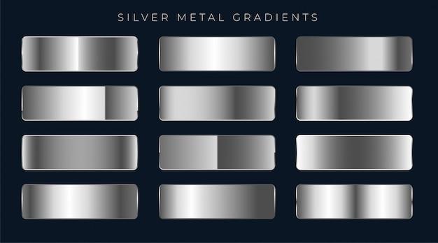 Set di sfumature argento o platino