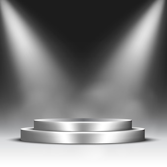 Silver podium with spotlights and steam. pedestal.
