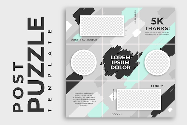 Silver post instagram puzzle feed template