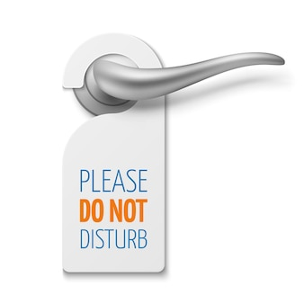 Silver realistic door handle with do not disturb white blank vector sign