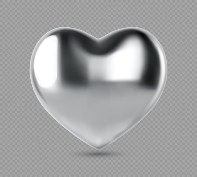 シルバーのリアルなハート。形の金属のハートのベクトルイラスト。透明な背景に分離されたシルバーのきらびやかなハートの形。