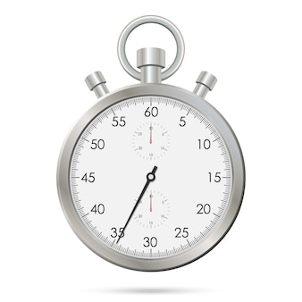 Silver realistic stopwatch
