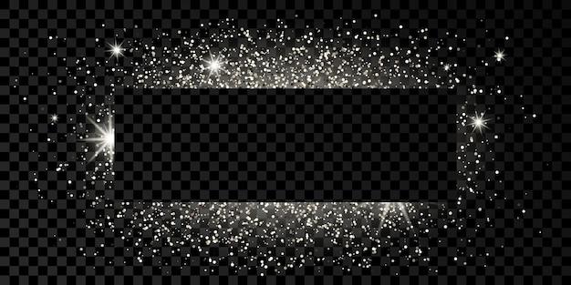 어두운 투명 배경에 반짝이, 반짝임 및 플레어가 있는 은색 사각형 프레임. 빈 럭셔리 배경입니다. 벡터 일러스트 레이 션.