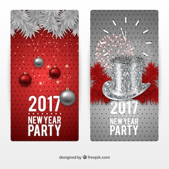 Silver and red new year banners