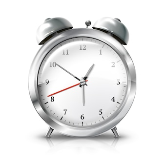 Silver retro alarm clock isolated