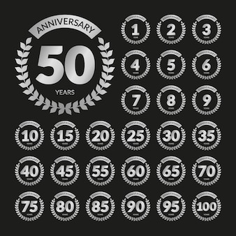 Silver retro anniversary badges set