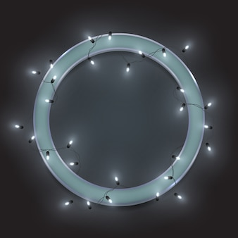 Silver retro neon circle frame, led shiny lights garland