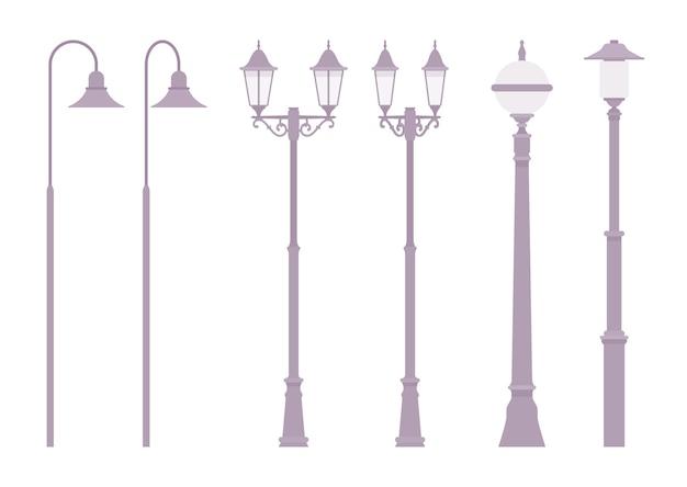 白で隔離される銀のレトロな街路灯