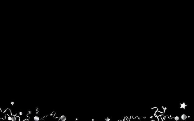Silver serpentine celebrate vector black background. celebration confetti poster. star happy branch. silver flying plant.