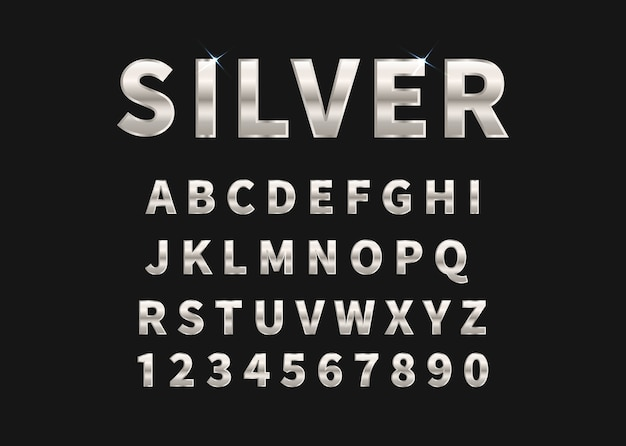 Серебряный набор алфавита и цифр.