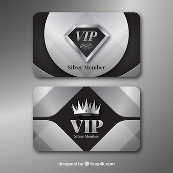 Silver set of vip cards with modern style