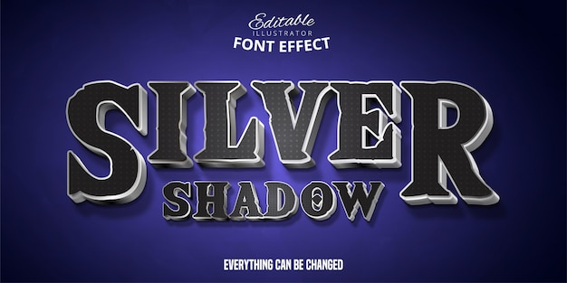 Silver shadow text, 3d editable font effect