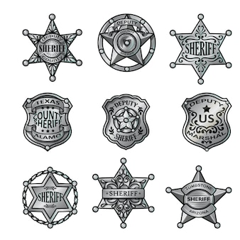 Silver sheriff badges collection