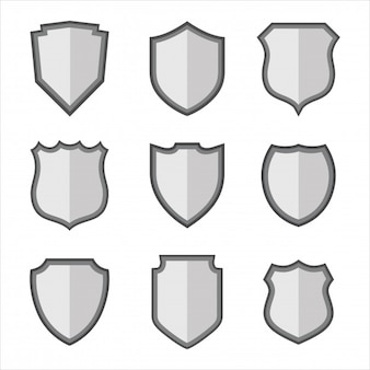 Silver shield design set on white background