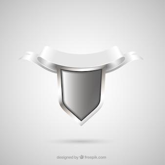 Silver shield with ornamental ribbon
