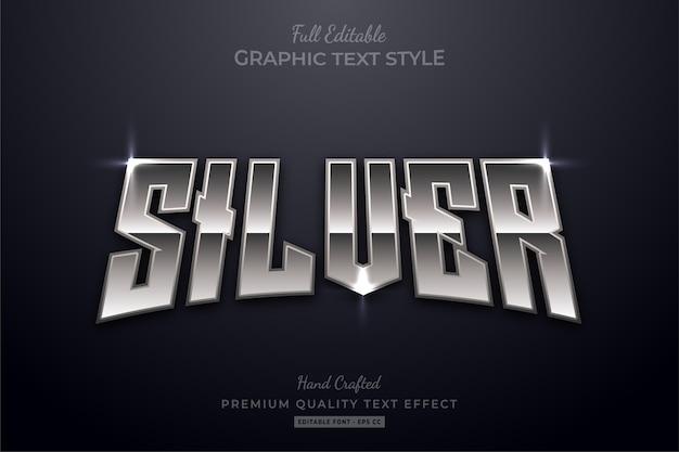 Редактируемый эффект стиля текста премиум-класса silver shine