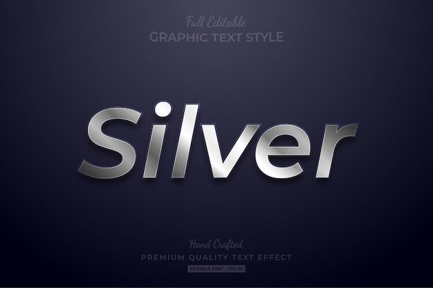 Silver shine editable text effect font style