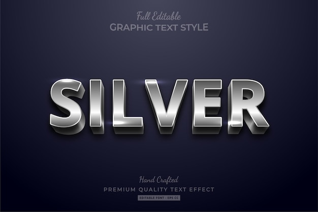Silver shine editable text effect