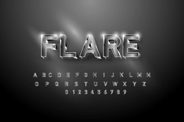 Серебряный блестящий шрифт алфавита. жирные буквы и цифры.