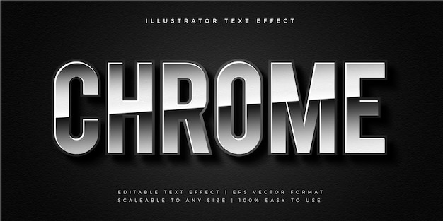 Silver shiny chrome text style font effect