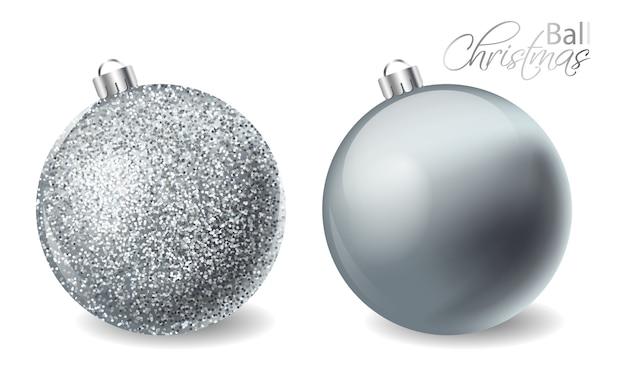 Серебряные блестящие новогодние шары с блестками