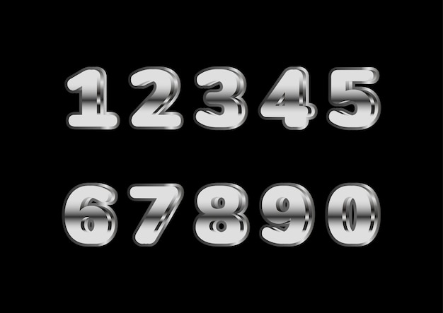 Silver shiny rounded bold number set