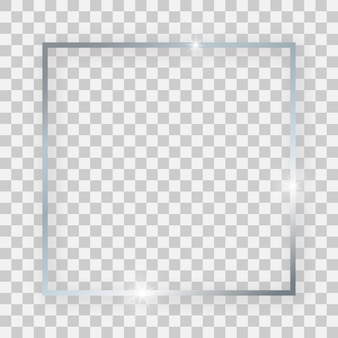 Silver shiny square frame with glowing effects and shadows on transparent background. vector illustration