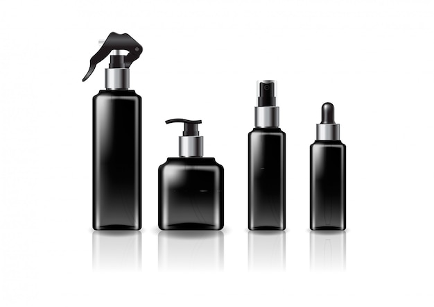Silver sizes black square cosmetic bottle   template.
