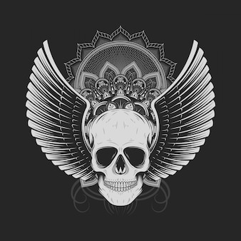 Silver skull with angel wings
