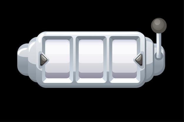 Серебряный игровой автомат, игровой шаблон для пользовательского интерфейса на черном фоне