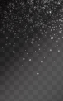 Silver snow vector transparent background. christmas snowflake holiday. gray abstract texture. holiday snowfall design.