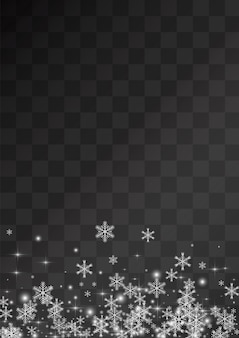Silver snowfall vector transparent background. christmas snowflake backdrop. white light wallpaper. winter snow holiday.