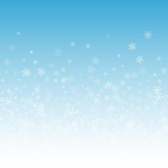 シルバースノーフレークベクトル青い背景。ファンタジースノーバナー。灰色の魔法のイラスト。クリスマス降雪カード。